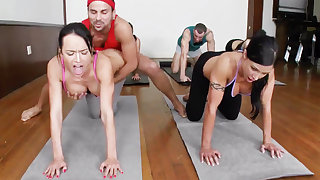 Yoga professor and 4 sizzling code of practice girls with meaty cupcakes