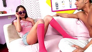Hardcore arse fuck for a brunette in socks coupled with glasses Nataly Von
