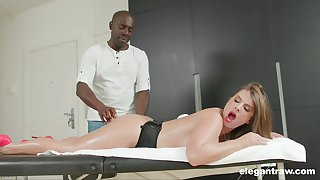 Busty MILF Sexy Suzy massaged and pest fucked by a black guy