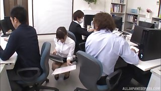 Hardcore office fuck on every side Japanese Ayami Shunka in the air a tight skirt