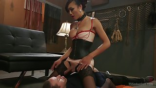 Exotic Asian T-girl Venus Lux fucks anus and deep throat of one bisexual guy