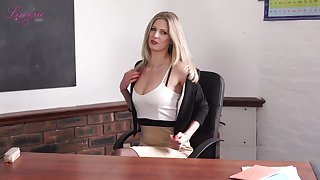 Magnificent teacher Leah gets naked and shows off off her perky yummy heart of hearts