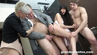 Foursome fucking with old and young span with cum on tits