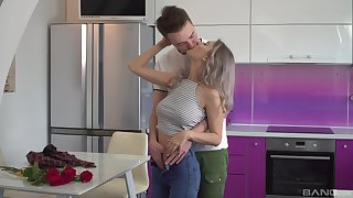 Erotic foreplay close to the kitchen leads the busty sis to a wild anal