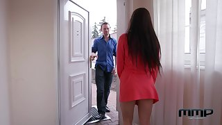 Czech milf Wendy Moon is finger fucked in anal hole on the massage table