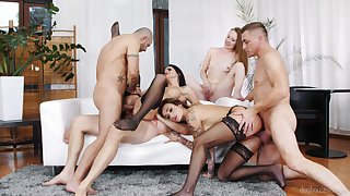 Full low-spirited fantasize in a homemade group orgy
