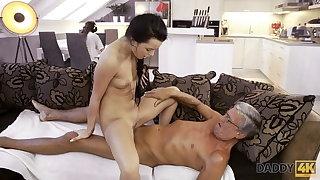 DADDY4K. Bad catholic starts caressing herself sitting near old guy