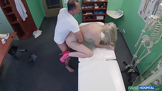 Blonde hottie bends ass for the lickerish doctor