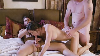 Needy brunette bends for a print flick