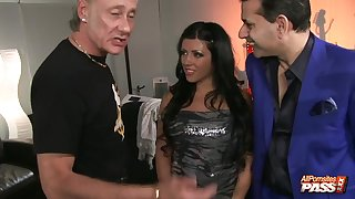 Pizzazz wife Amanda Pitch-black gets fucked by the brush hubby and a stranger