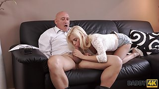 Old dad fucks son's girlfriend Candee Licious in mouth and pussy