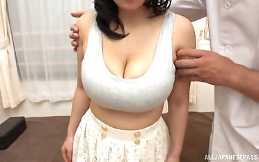Dark-haired chinese girl gets her enormous boobs fumbled by a stranger